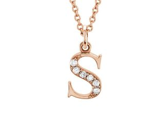 The Kelly 14K Rose Gold Diamond Lower Case Letter 's' Necklace, 16 in