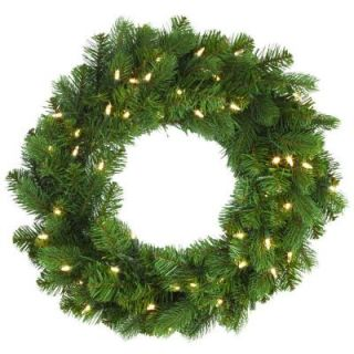 Home Decorators Collection 24 in. LED Pre Lit Downswept Douglas Fir Artificial Christmas Wreath 9316600610
