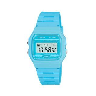 Casio Mens Calendar Day/Date Watch w/Aqua Accent LCD Dial and Aqua
