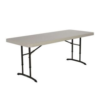 Lifetime 6 Adjustable Height Commercial Grade Folding Table, Almond (Select Quantity)