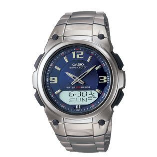 Casio Mens Calendar Day/Date Watch with Round Blue Dial and Silvertone