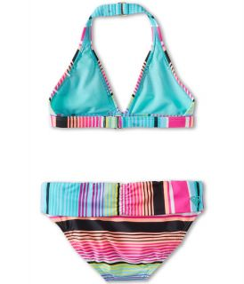 roxy kids tropical stripe 70s halter set with cups big kids tropical pink roxy border stripe new