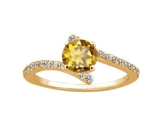 1.14 Ct Round Champagne Quartz 925 Yellow Gold Plated Silver Ring