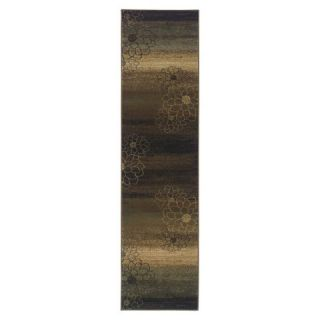 Abstract Floral Area Rug   Brown