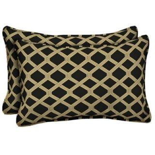 Hampton Bay Black Lattice Outdoor Lumbar Pillow (2 Pack) DISCONTINUED AD08121B 9D2