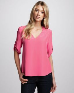 Amanda Uprichard Staci Tab Sleeve Blouse