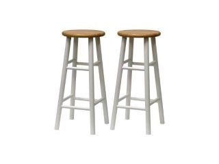 Winsome Wood S/2 Beveled Seat 30 Inch Bar Stools Nat/Wht