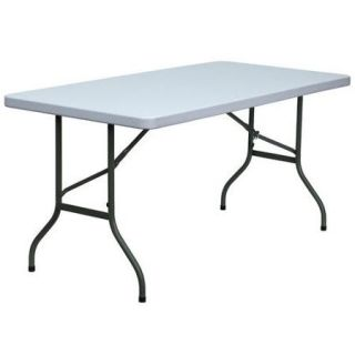 Flash Furniture 30'' W Blow Molded Plastic Folding Table in Granite White