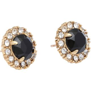 kate spade Secret Garden Goldtone Jet Black and Clear Stud Earrings