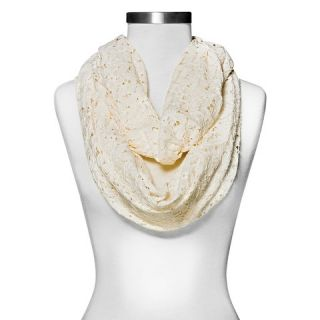 Womens Floral Lace Infinity Scarf   Ivory