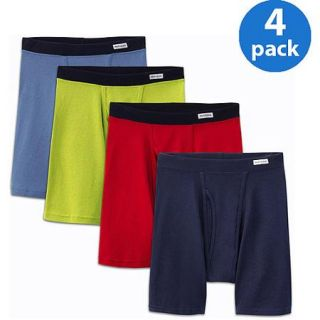 Fruit of the Loom Big Men's Soft Fabric Covered Waistband Boxer Briefs, 4 Pack