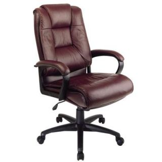 Office Star Work Smart Glove Soft Leather Executive High Back Office Chair in Burgundy EX5162 4