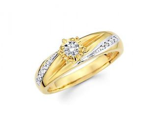 14k Yellow Two Tone Gold Diamond Engagement Ring .19 ct (G H Color, SI2 Clarity)