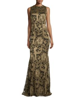 Alice + Olivia Roxie Floral Lace Diamond Back Gown, Bronze