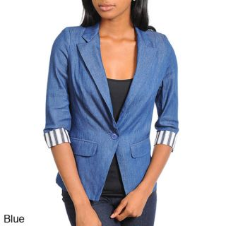 Stanzino Womens One Button Denim Blazer  ™ Shopping   Top