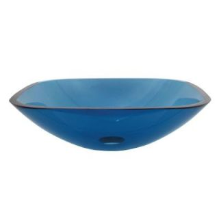 Kingston Brass Square Glass Vessel Sink in Blue HEVSQFB4