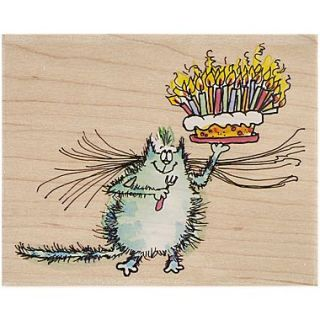 Penny Black Mounted Rubber Stamp, 3.5 x 4.25, Birthday Whiskers
