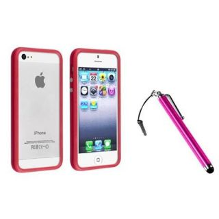 Insten Fire Red TPU Bumper Frame Case Skin Cover w/Button For iPhone 5S 5+Pink Stylus
