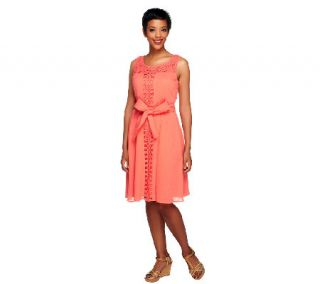 Isaac Mizrahi Live Lace Detail Dress with Waist Tie —