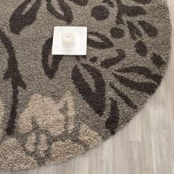 Safavieh Ultimate Smoke/ Dark Brown Shag Rug (4 Round)