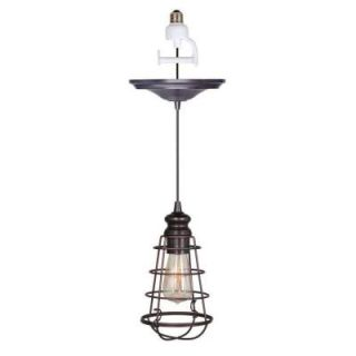Worth Home Products 1 Light Brushed Bronze Instant Pendant Conversion Kit and Wire Cage Shade PBN 6257 0011