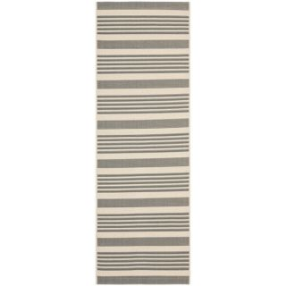 Safavieh Indoor/ Outdoor Courtyard Grey/ Bone Rug (23 x 10