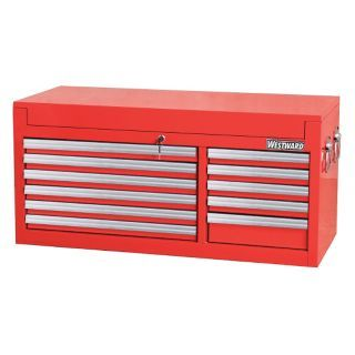 "WESTWARD Red Top Chest, 40 1/2"" Width x 17 5/8""  Depth x 19 3/16"" Height, Number of Drawers: 11   Tool Chests and Side Cabinets   32H870