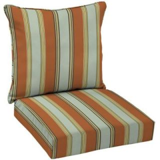 Hampton Bay Fontina Stripe Welted 2 Piece Deep Seating Outdoor Dining Chair Cushion Set AD20911B D9D1