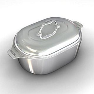 Chefs Design Gourmet 16.5 Heavy Cast Aluminum Covered Oval Roaster with Non Stick Interior