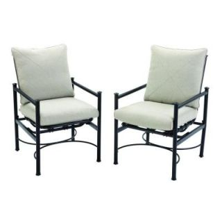 Hampton Bay Barnsley Patio Motion Dining Chair with Textured Silver Pebble Cushions (2 Pack) DISCONTINUED FSS61119R 2PK