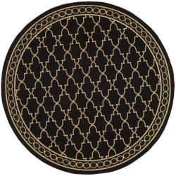 Safavieh Indoor/ Outdoor Black/ Sand Rug (67 Round)