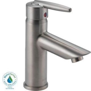 Delta Grail Single Hole 1 Handle Mid Arc Bathroom Faucet Less Pop up Drain in Stainless 585LF SSLPU