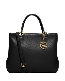 MICHAEL Michael Kors Anabelle Medium Top Zip Leather Tote Bag, Black