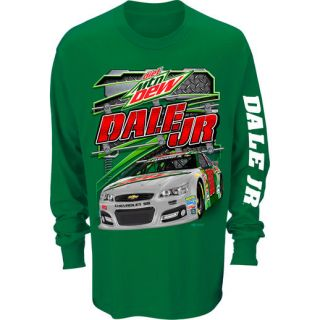 Checkered Flag Dale Earnhardt Jr. Kelly Green Restart Long Sleeve T Shirt