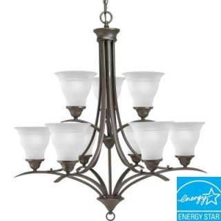 Progress Lighting Trinity Collection 9 Light Antique Bronze Chandelier P4329 20EBWB