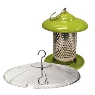 Bird Stop Ceramic Bird Feeder with Squirrel Baffle Bundle, Green