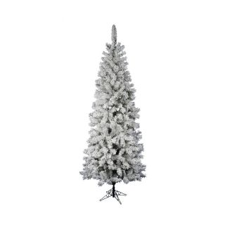 Vickerman 7.5 ft Flocked Slim Artificial Christmas Tree