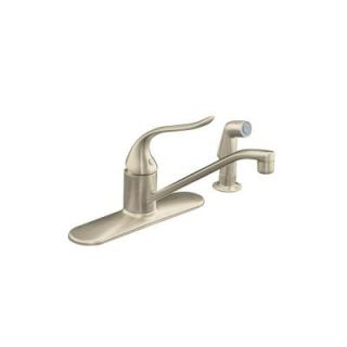 KOHLER Coralais Single Handle Standard Kitchen Faucet with Side Sprayer and Lever Handle in Vibrant Brushed Nickel K 15172 F BN