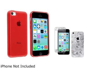 Insten Red TPU Rubber Case with 3D Triangle Front / Back LCD Screen Protector Compatible with Apple iPhone 5C 1404966