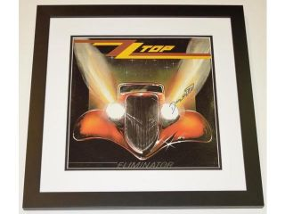 Real Deal Memorabilia ZZTopAlbumBF ZZ Top Autographed Eliminator LP Record Album Cover BLACK CUSTOM FRAME