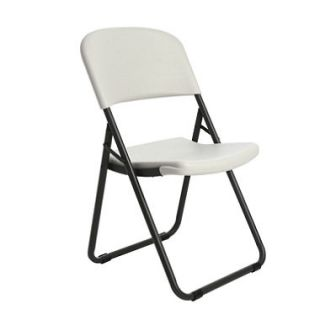 Lifetime Commercial Grade Loop Leg Contoured Folding Chair, White Granite   4 pack