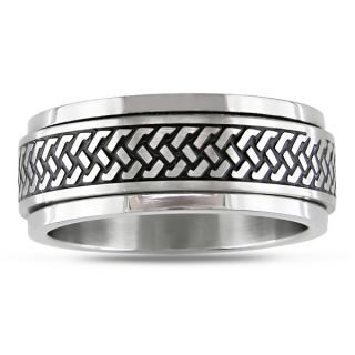 by Miadora Stainless Steel with Black Enamel Mens Spinner Ring
