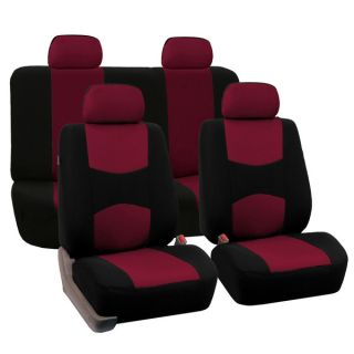 FH Group Burgundy Full Set Fabric Auto Seat Covers   15622764