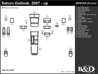 2007, 2008, 2009 Saturn Outlook Wood Dash Kits   B&I WD810A DCF   B&I Dash Kits