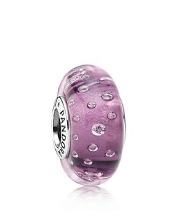 PANDORA Charm   Murano Glass, Sterling Silver & Cubic Zirconia Purple Effervescence, Moments Collection