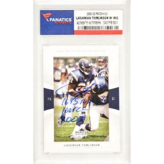 LaDainian Tomlinson San Diego Chargers  Authentic Autographed 2003 Upper Deck Patch Collection #21 Card with 1,645 Rush YDS. 100 REC 2003 Inscription
