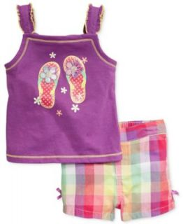 Kids Headquarters Little Girls 2 Piece Flip Flop Tank & Plaid Shorts