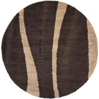 Safavieh Willow Shag Dark Brown/Beige 4 ft. x 4 ft. Round Area Rug SG451 2813 4R