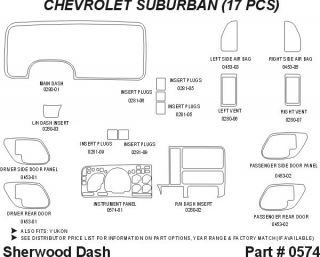1997, 1998, 1999 Chevy Suburban Wood Dash Kits   Sherwood Innovations 0574 CF   Sherwood Innovations Dash Kits