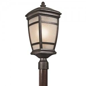 Kichler 49274RZ Outdoor Light, Transitional Post Mount 1 Light Fixture   Rubbed Bronze